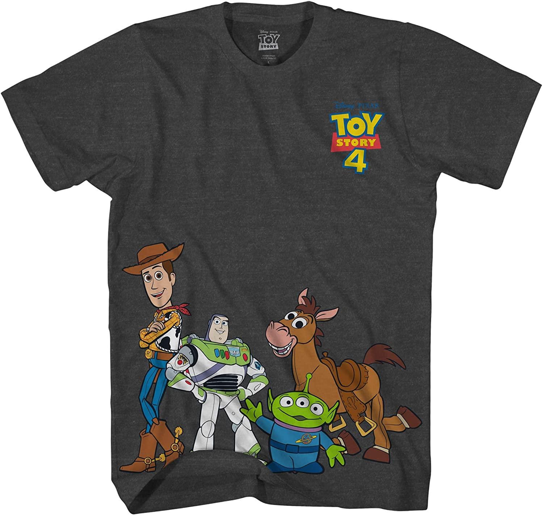 Disney Pixar Toy Story 4 Happy Crew Woody Buzz Bo Peep Movie Disneyland World Funny Adult Tee Graphic T-Shirt for Men Tshirt