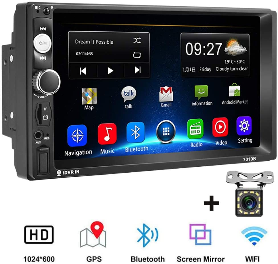 Camecho Android Double Din Car Stereo with 7'' HD Touch Screen Head Unit GPS FM Bluetooth USB Radio Support iOS/Android Phones Mirror Link + 12 LEDs Backup Camera (2G(RAM)+32G(ROM))