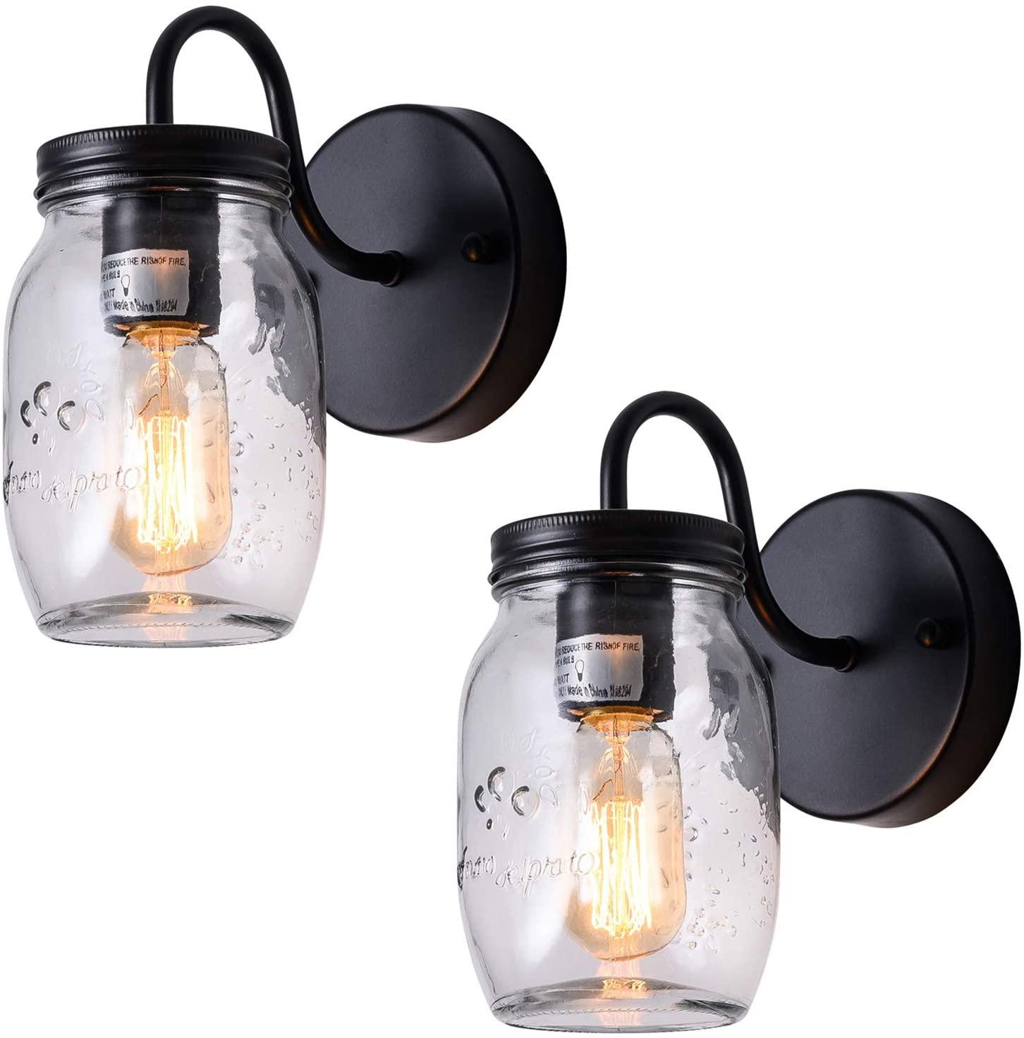 XIPUDA Mason Jar Light Fixture Retro Wall Sconce Farmhouse Hallway Lighting Bathroom Vanity Light (2 Packs)