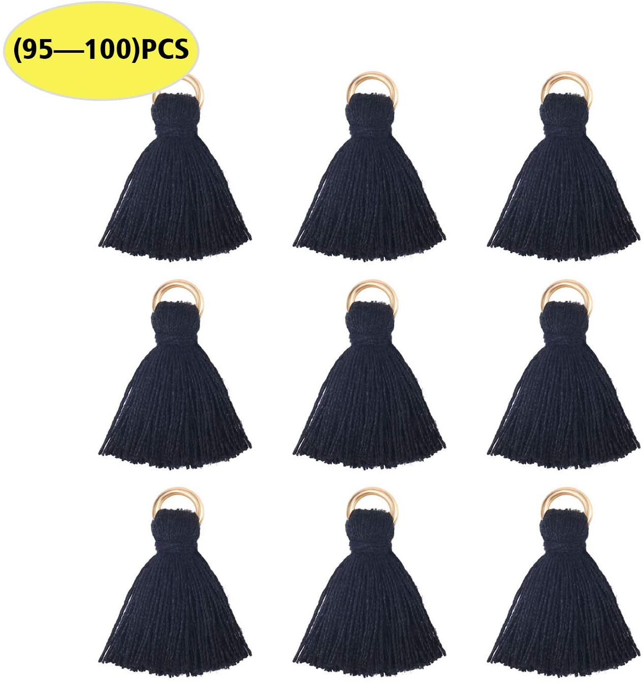 ALEXCRAFT Wholesale Mini Black Tassel Charms Little Short Cotton Thread Tassel Supplies for Crafts and Jewelry Making(95-100PCS)