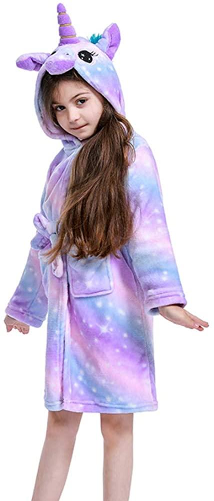 Premium Soft Unicorn Robe for Girls, Flannel Hooded Bathrobe-Unicorn Gifts