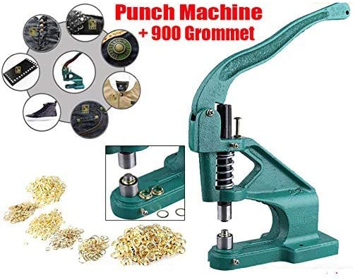 3 Die Hand Press Grommet Machine Manual Grommet Press Punch Tool Kit Hole Punch Tool Kit with 900 Pcs Grommets Eyelet Tool