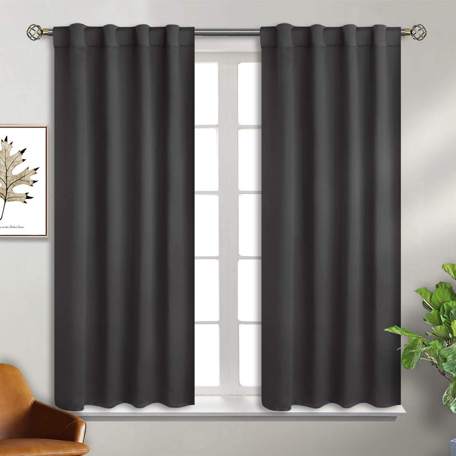 BGment Rod Pocket and Back Tab Blackout Curtains for Bedroom - Thermal Insulated Room Darkening Curtains for Living Room, 2 Window Curtain Panels (38 x 45 Inch, Dark Grey)