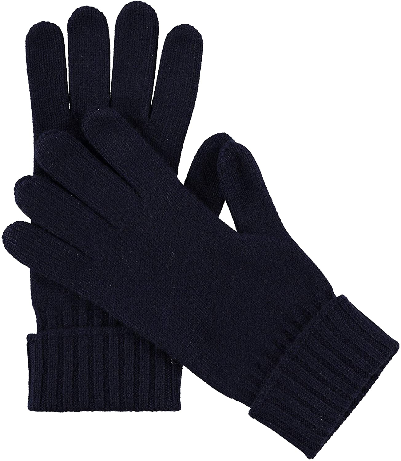 Manio Cashmere Womens 100% Cashmere Knitted Gloves Pure Soft Comfortable With Ribbed Cuffed