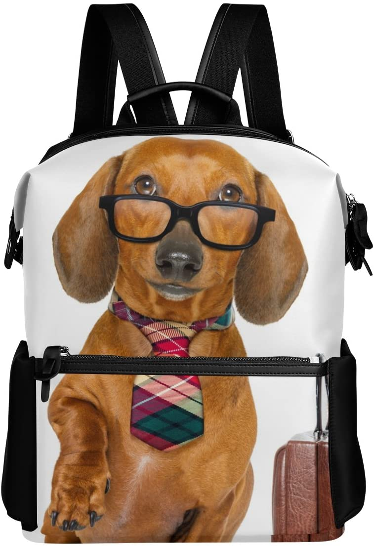 Funny Dachshund Dog Lightweight WaterproofPolyester Large CapacityBackpack Campus Backpack TravelDaypack
