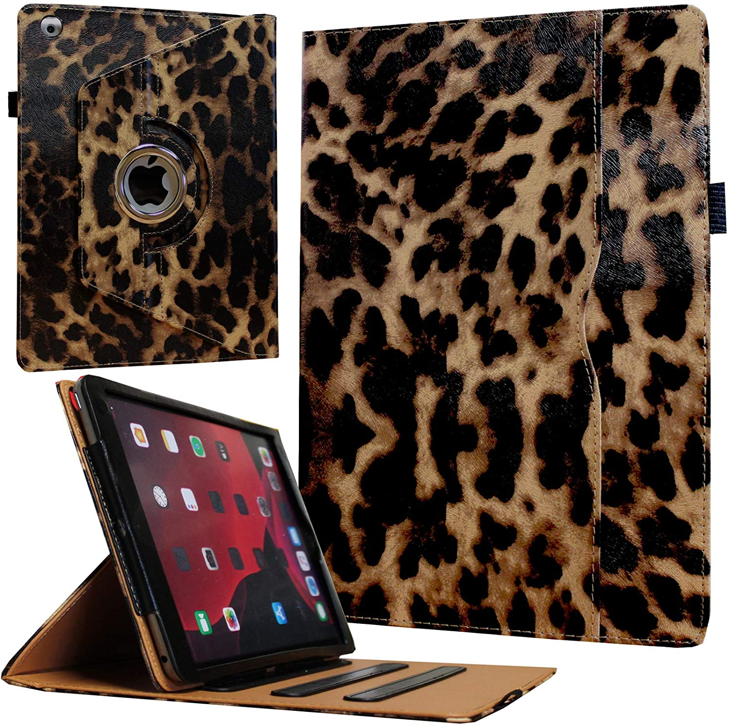 JYtrend Case for Old iPad 2(2011)/iPad 3(2012)/iPad 4(2012), Rotating Stand Wake up/Sleep Smart Cover with Pocket and Pen Holder for A1395 A1396 A1397 A1403 A1416 A1430 A1458 A1459 A1460 (Leopard)