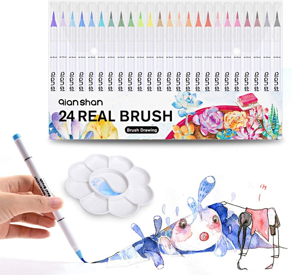 qianshan, Professional Watercolor Soft Flexible Tips for Adult Coloring Books Painting Drawing Manga Sketching Markers with Palette, 24 Real Brush Pens