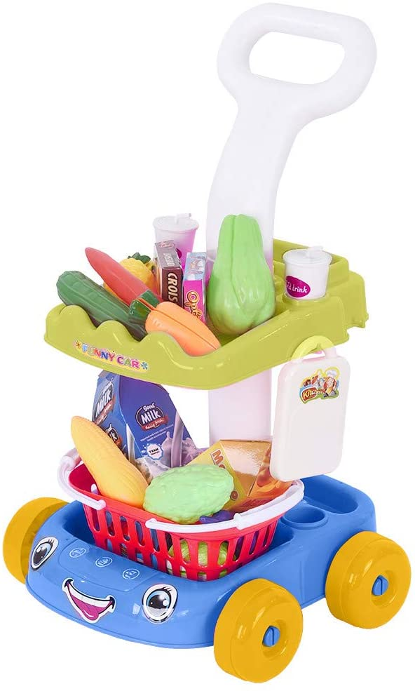 Kangrunmys Kids Fruit Vegetable Pretend Play Set Trolley Playing Preschool Indoor Games Shopping Cart Fruits Vegetable Playset Educational Learning Toy Kitchen Play Food for Boy Girl Kid (Blue)