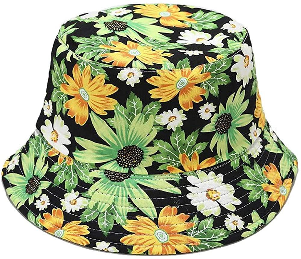 CNUSER Unisex Reversible Bucket Hat, Sun Beach Hats Packable Double-Side-Wear Fisherman Outdoor Cap Travel Visor