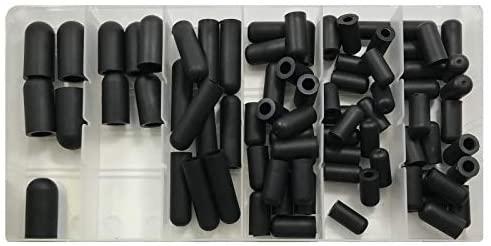 Sherco-Auto 80 Piece Black Rubber Vacuum Cap Assortment Kit - Includes 5/32