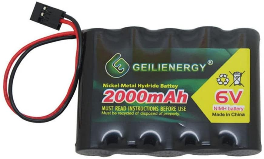 Geilienergy 6V 2000mAh NiMH RX Battery Packs with Hitec Connector for RC Aircrafts and Walking Robot