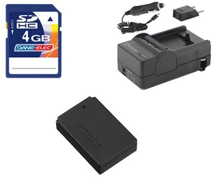 Canon EOS 100D Digital Camera Accessory Kit includes: SDLPE12 Battery, SDM-1561 Charger, KSD4GB Memory Card