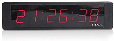 GANXIN Remote Control Multifunctional 6 Digits LED Wall Clock Size 8.3''L x 2''H x 1''W, Countdown/up Digital Timer, Stopwatch