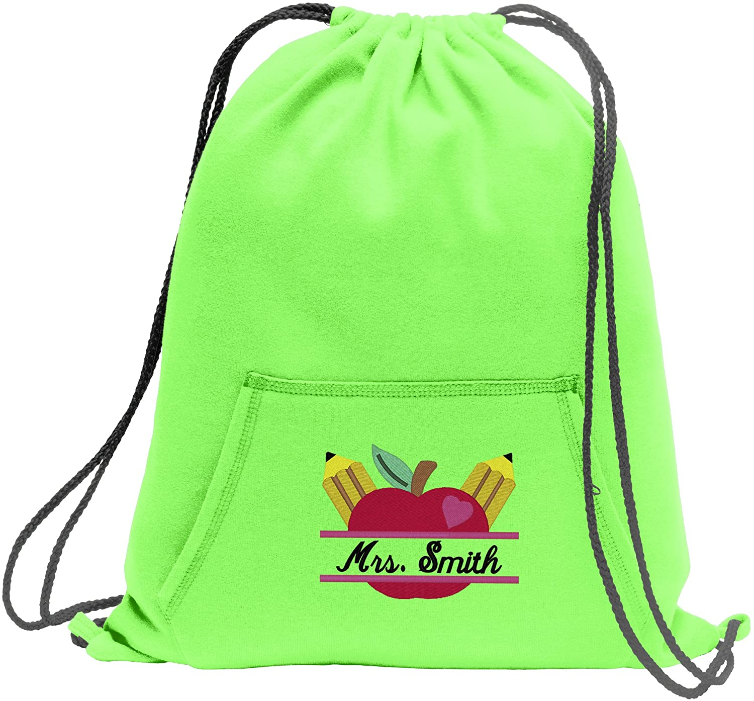Personalized Cinch Bag with Custom Text | Designed with Customizable Teacher's Apple Monogram Drawstring Bag
