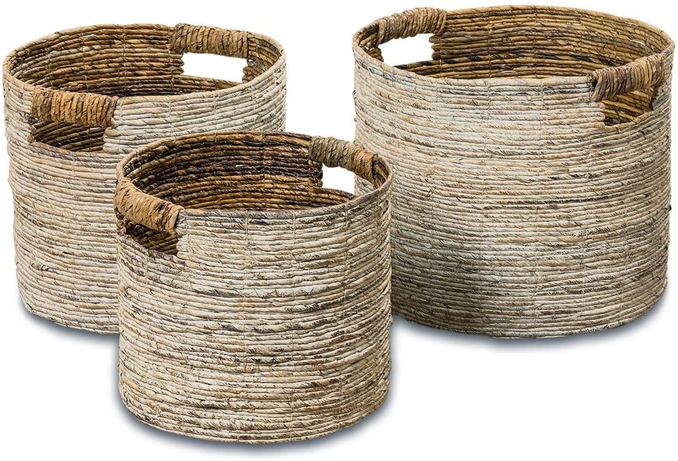 Woven Storage Baskets, Set of 3, Chunky Weave, Rustic Natural Accents, Cut Out Handles, Various Sizes 10.25 Inches - 16.25 Inches, Romantic Beach Chic White Washed Banana Leaf Baskets,