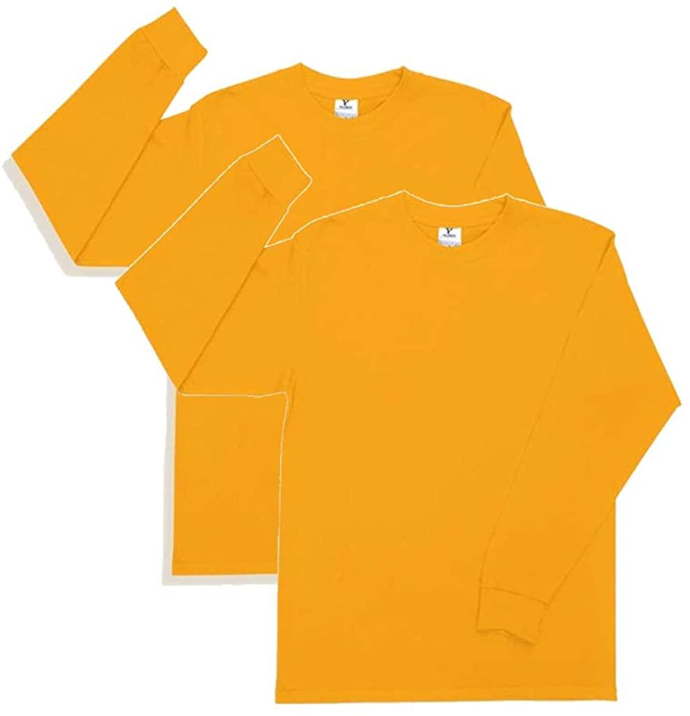 Yazbek Men's Heavy Weight (5.9-Ounce) Crew Neck Long Sleeve T-Shirt - 2-Pack