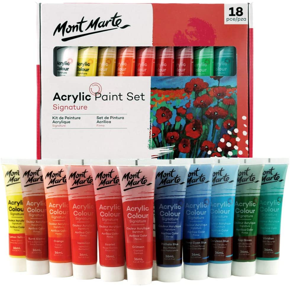 Mont Marte Acrylic Paint Set 18 Colours 36ml, Perfect for Canvas, Wood, Fabric, Leather, Cardboard, Paper, MDF and Crafts