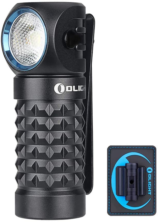 OLIGHT Perun MINI 1000 Lumens Compact Multi-use Illumination Tool, Magnetic Rechargeable Right Angle Light Use a IMR16340 Battery, Rotated 60 Degrees Work Light with Velcro Duty Patch Waterproof