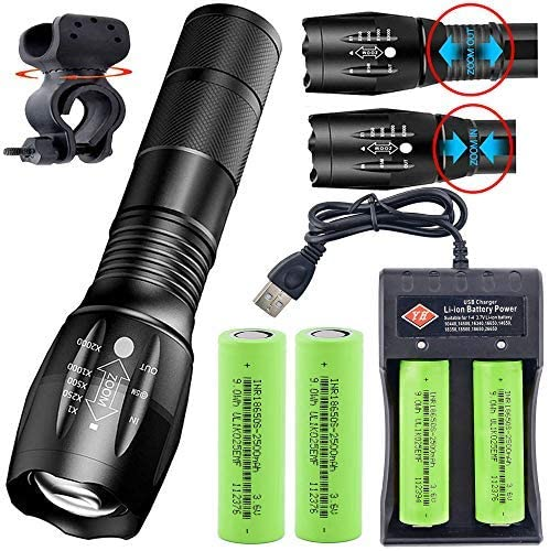 Flashlights LED Tactical Flashlight with 4x Rechargeable Batteries & 18650 Battery Charger & Bicycle Clip, 5 Modes, Waterproof, Adjustable Focus, Portable 18650 Hand Held Flashlight