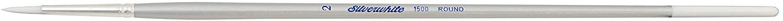 Silver Brush 1500-2 Silverwhite Long Handle White Taklon Brush, Round, Size 2