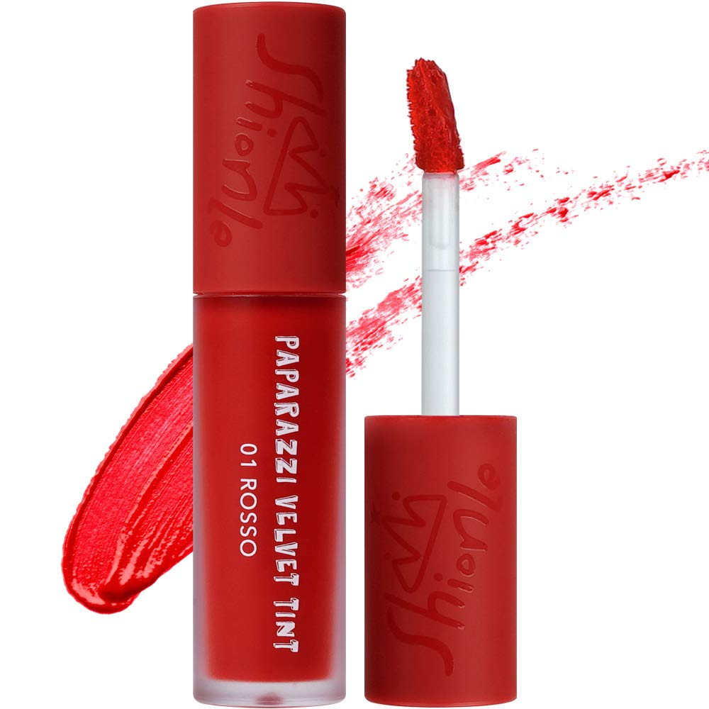 SHIONLE - Paparazzi Velvet Tint: Long Lasting Lip Stain with Moisturizing effects | Wrinkle Coverage | Gradation Look | Available in 6 Colors | 4.5g (01 Rosso)