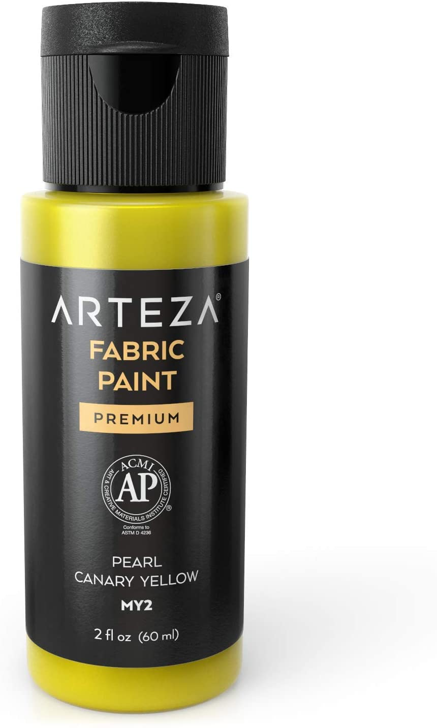 Arteza Permanent Fabric Paint MY2 Pearl Canary Yellow, 60 ml Bottle, Washer & Dryer Safe, Textile Paint for Clothes, T-Shirts, Jeans, Bags, Shoes, DIY Projects & Canvas