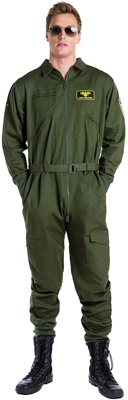 Tipsy Elves' Men's Pilot Costume - Green Military Flight Halloween Jumpsuit
