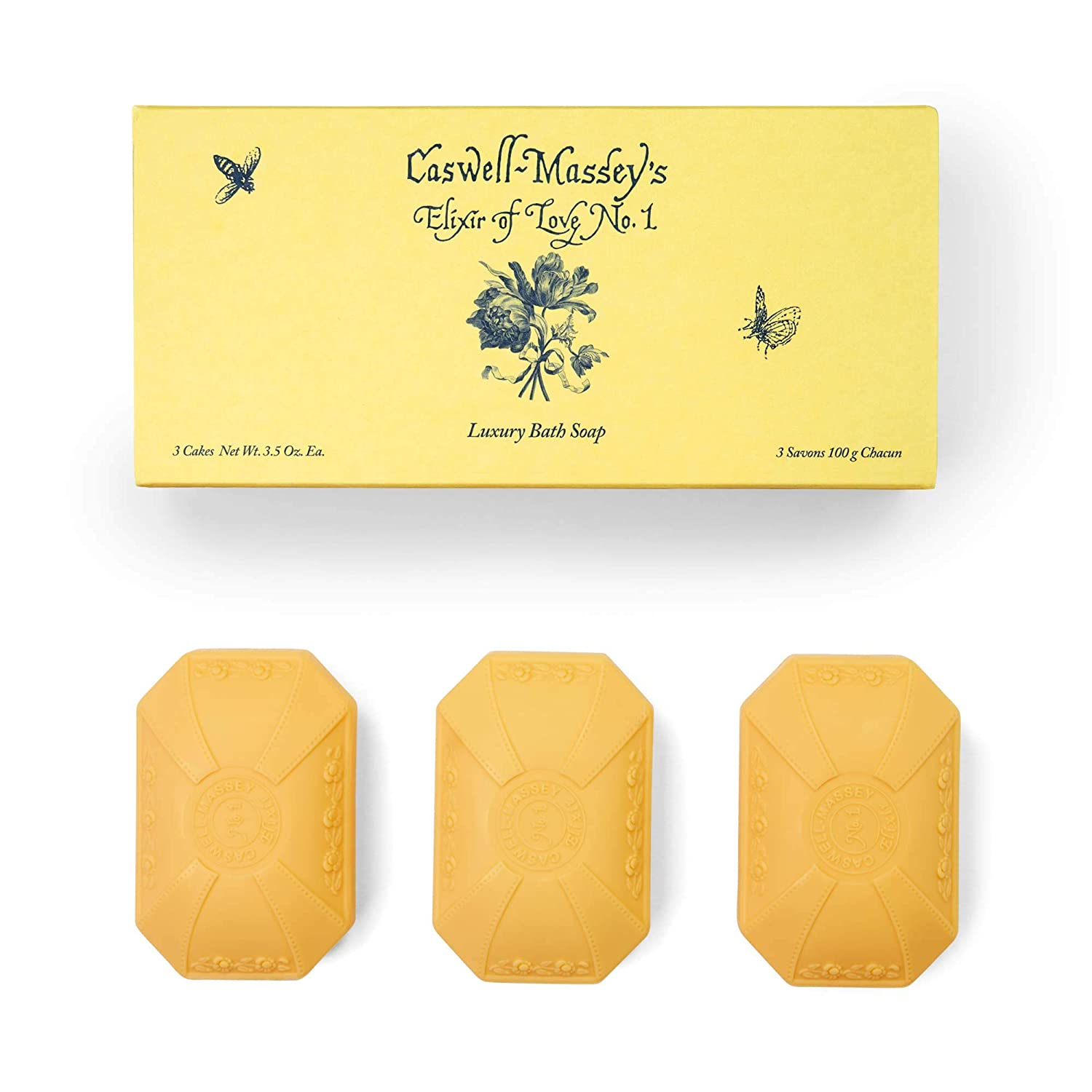 Caswell-Massey Elixir of Love No. 1 Scented Luxury Bath Soap Bar Set – 3 Bars of Soap