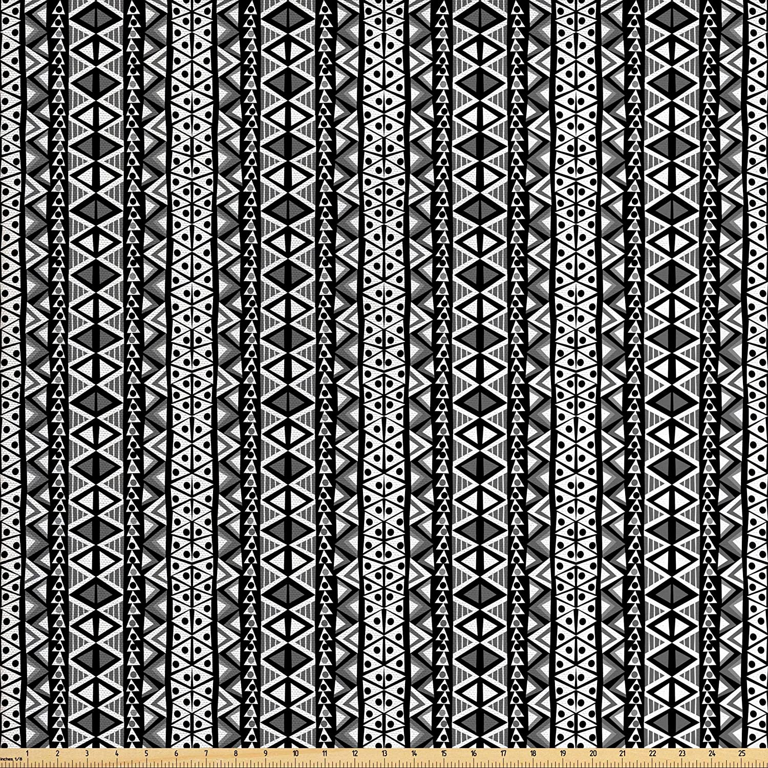 Ambesonne Retro Fabric by The Yard, Boho Pattern in Black and White with Western Native Effects Folk Design, Decorative Fabric for Upholstery and Home Accents, 2 Yards, Black Grey