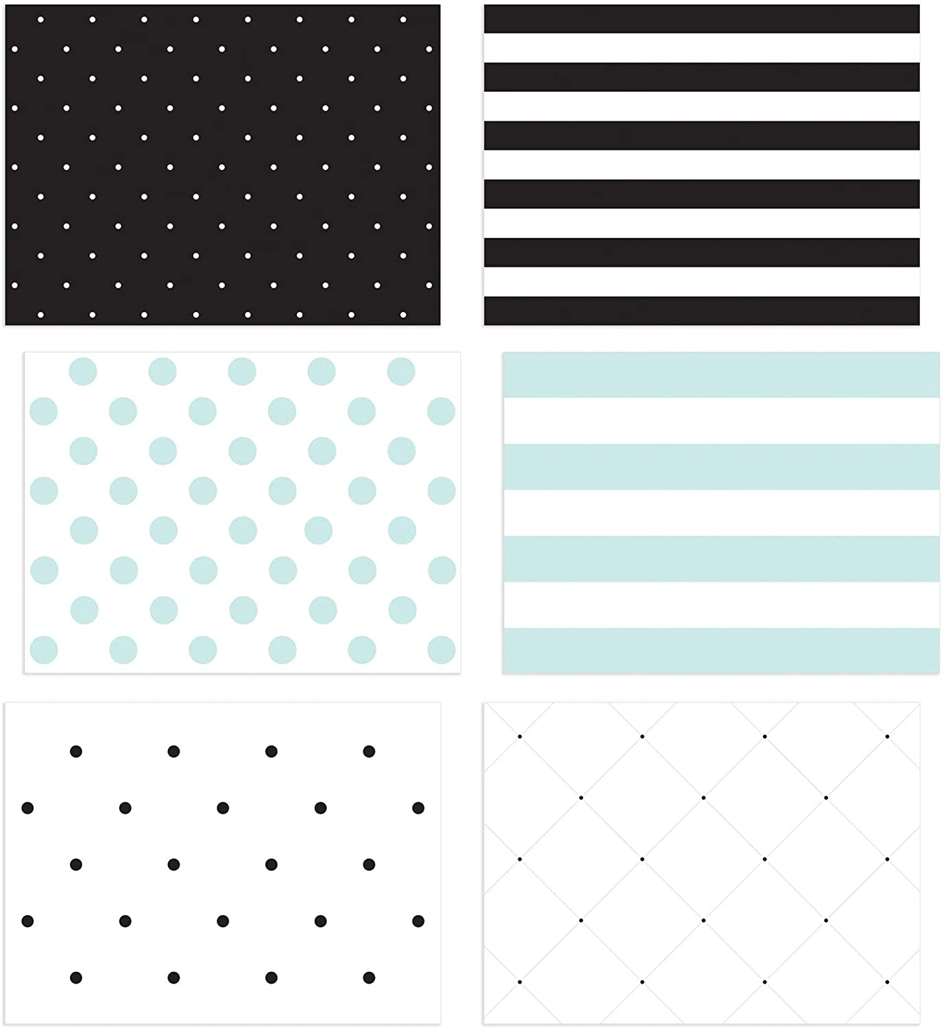 36 Pack Blank Note Cards, All Occasion Polka Dot and Striped Designs, Greeting Card Bulk Box Set, Blue, Black and White Notecards, Blank Note Cards with Envelopes Included, 3.5 x 5 Inches