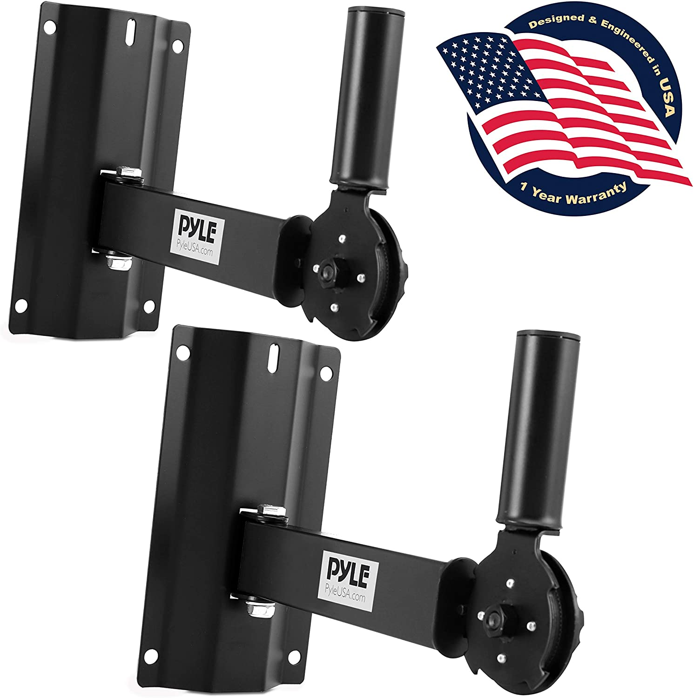 Universal Wall Mount Speaker Bracket - Dual Heavy Duty Metal Studio Adjustable Pole Speaker Mounting Bracket with Tilt & Rotation Adjustment for PA, Bookshelf, Surround Sound Speakers - Pyle PSTNDW18
