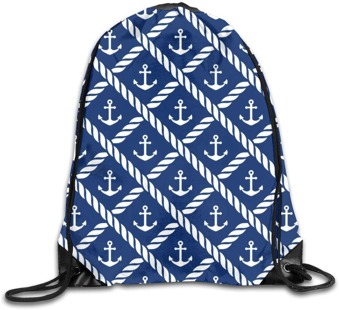 Navy Anchor Drawstring Bag Bulk Storage Backpack Polyester Cinch Sacks String Portable Sackpack for School Travel Gym Sports for Men Women Kids