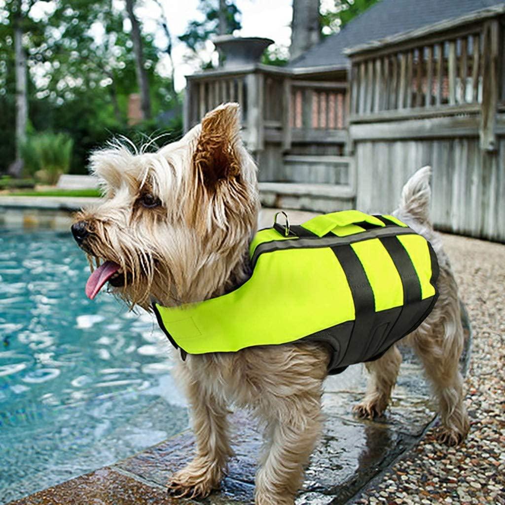 shanghaijiuheng Dog Life Jacket Adjustable Dog Lifesaver Reflective Vest Pet Life Preserver with Rescue Handle Green