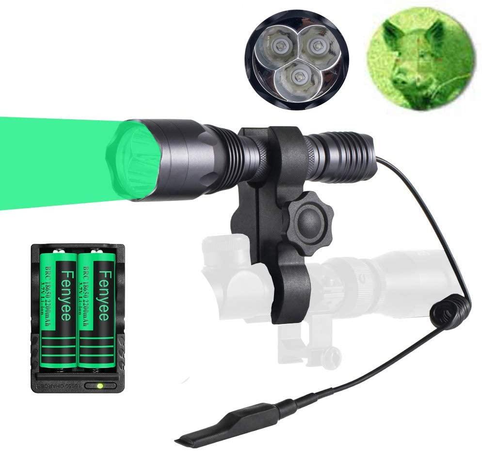 Fenyee 3pc Green Light 300 Yards 650 Lumen Tactical Flashlight Torch for Coyote Hog Pig Varmint Hunting Scope Mount