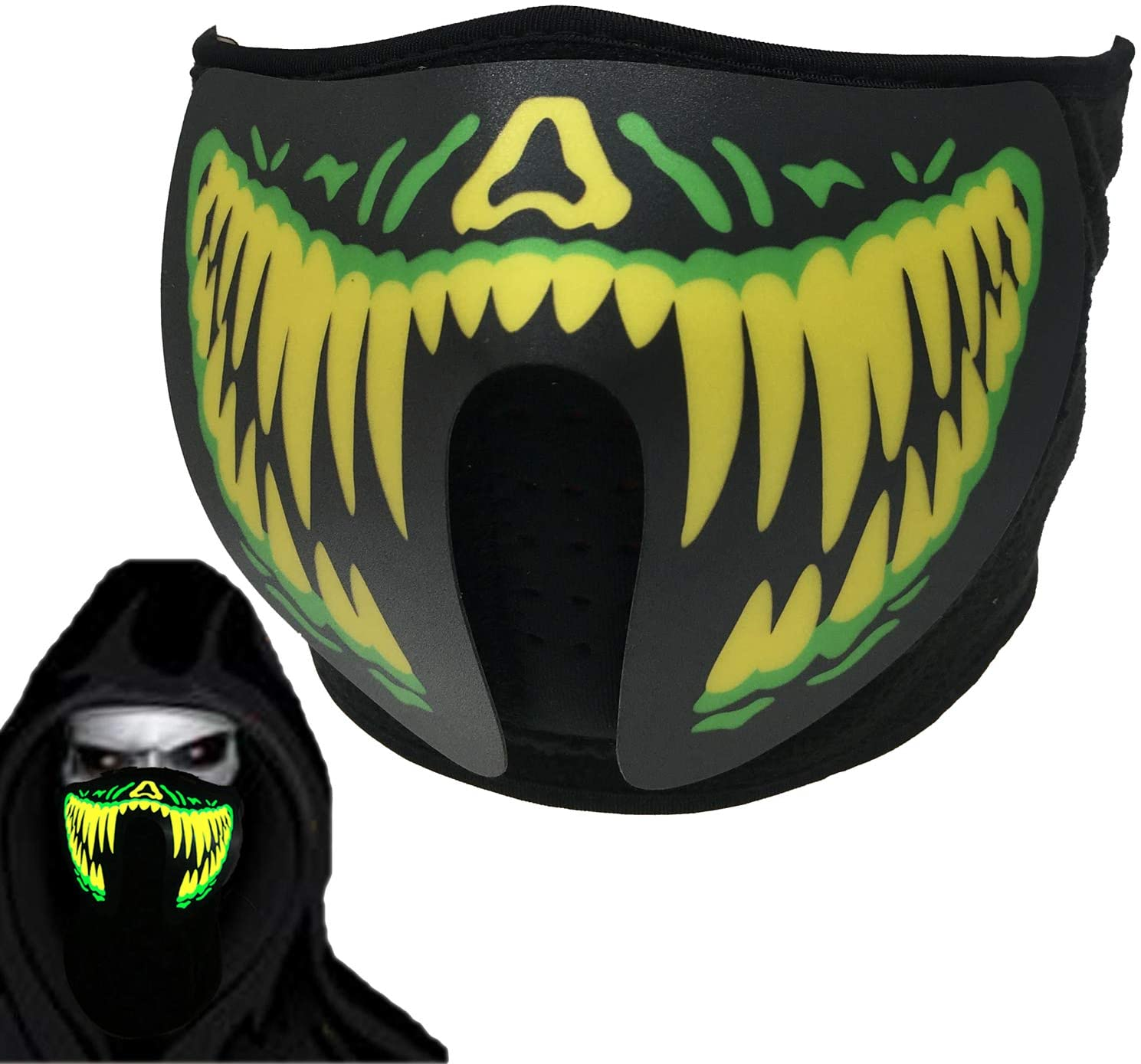 Sound Active LED Halloween Mask Rave Mask Light Up Face Mask Scary Mask for EDM Halloween Party