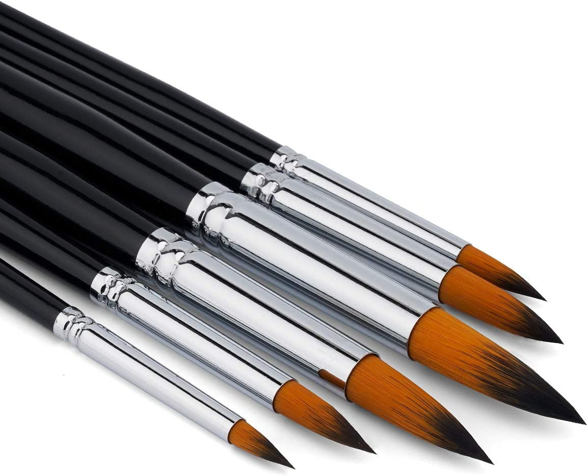 BOSOBO Paint Brushes Set, 6 Pcs Professional Round-Pointed Artist Paintbrushes for Watercolor Oil Acrylic Gouache Painting, Face Body Art, Rock, Wood, Models & Crafts, Long Handle Adults Paint Brush