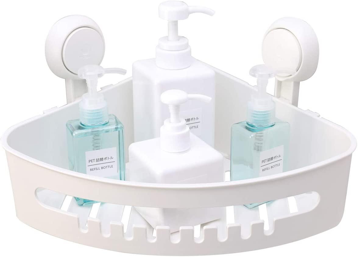 TAILI Suction Corner Shower Caddy Bathroom Shower Shelf Storage Basket Wall Mounted Organizer for Shampoo, Conditioner, Plastic Shower Rack for Kitchen & Bathroom, Drill-Free Removable