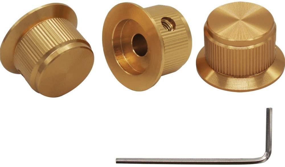 mxuteuk 3pcs Gold Aluminum Alloy Potentiometer Control Knob Volume Audio Electric Guitar Bass Screw Type 24 x 14.5mm (dh) KNOB-07-GLD