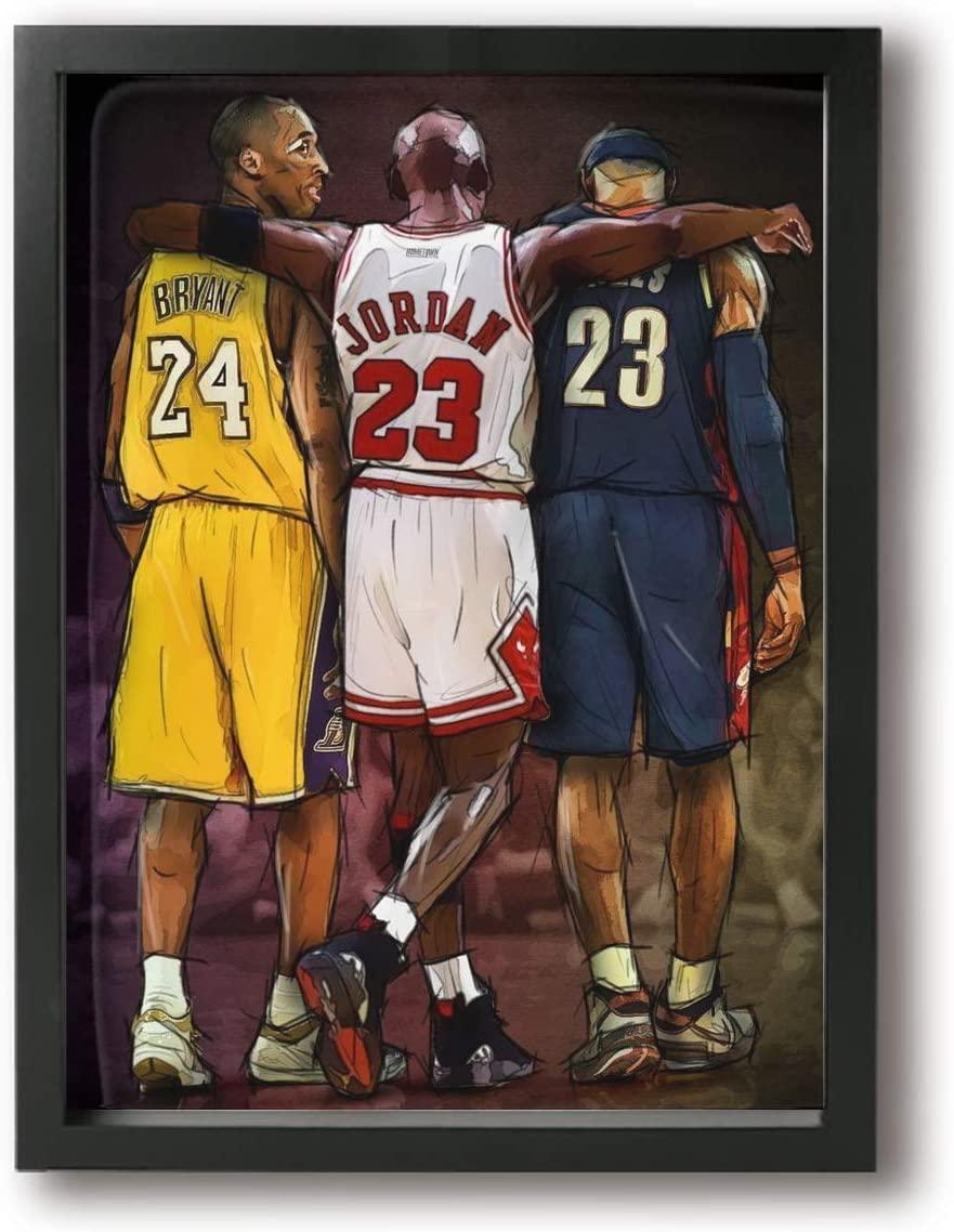 IIU Basketball Legends Kobe_Bryant_24, Lebron_James & Michael_Jordan Poster Wall Art Decor Canvas Framed Fans Gift for Bedroom12x16in