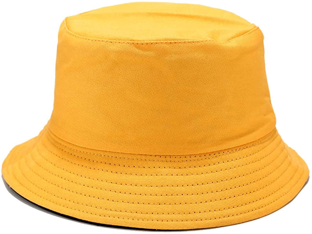 Solid Color Bucket Hat Simple Fisherman Cap Packable Reversible Sun Hat for Women, Men