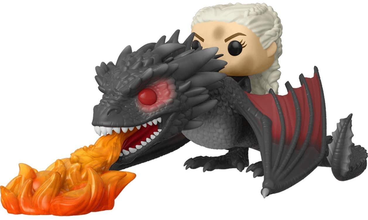 Daenerys on Fiery Drogon: Funko Pop! Rides Vinyl Figure Bundled with 1 G.O.T. Trading Card (068 - 45338)