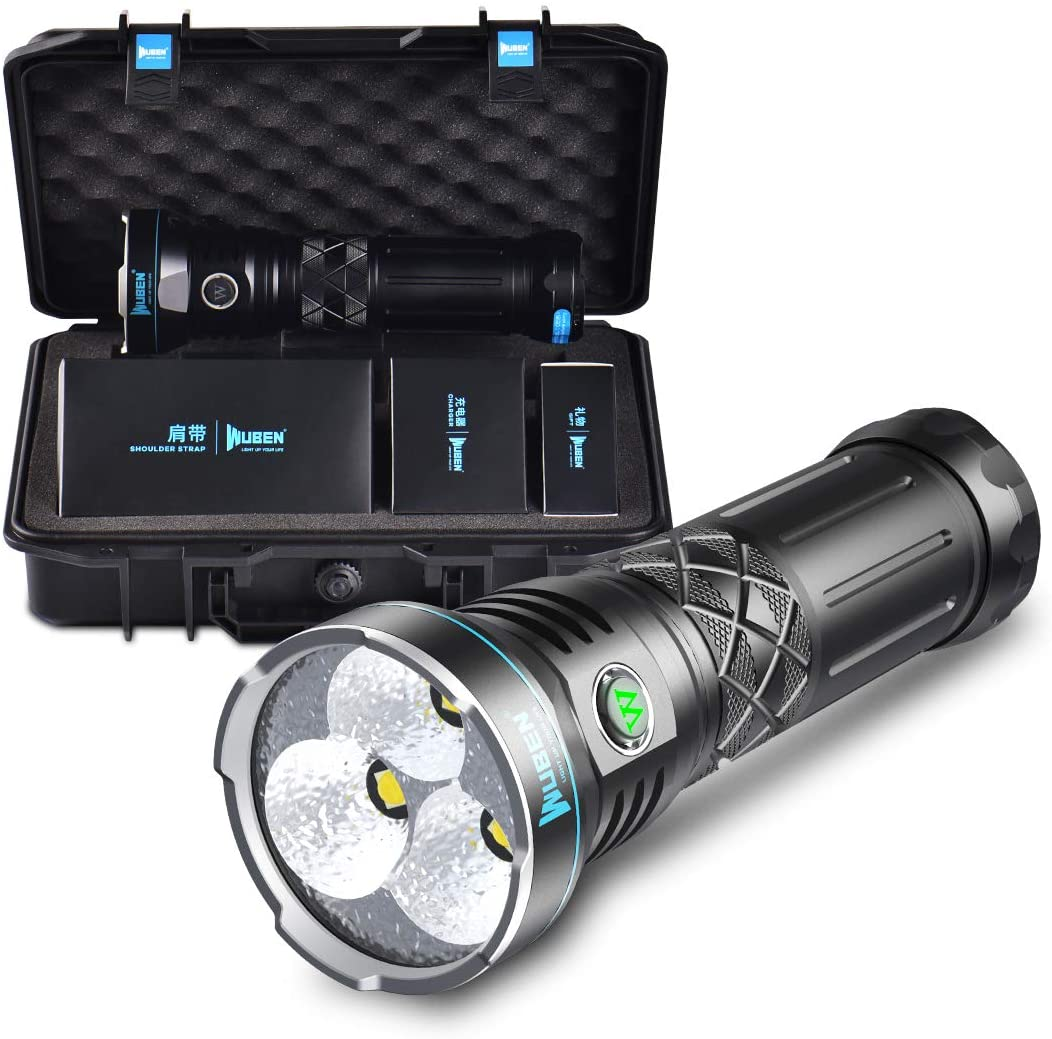 WUBEN Brightest Rechargeable Flashlight 12000 High Lumens Super Powerful Torch with 3PCS CREE XHP70.2 LEDs and 10400 mAh Battery Pack for Flashaholics - A9 Light of Dual UI Ramping and Regular Mode