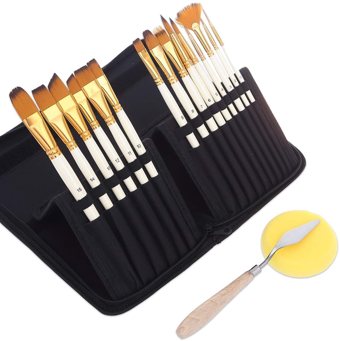 Art Paint Brushes Set for for Watercolor, Acrylic, Oil- 15 Different Sizes for Artists, Adults & Kids, Contains Premium Nylon Hairs-Free Art Knife and Sponge White