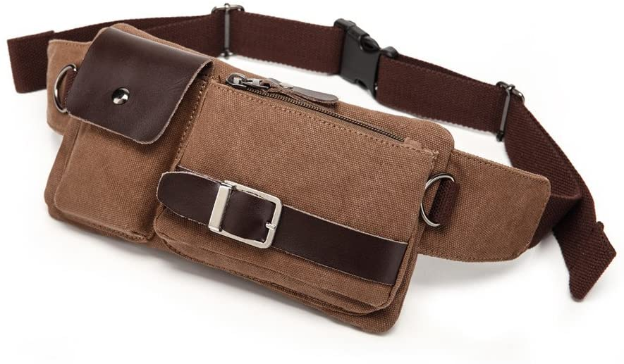 BAOSHA YB-01 Vintage Men's Waist Bag Sports Waist Pack Bum Bag Security Money Waist Day Pack Pouch Hip Belt Bag Bumbag Coffee