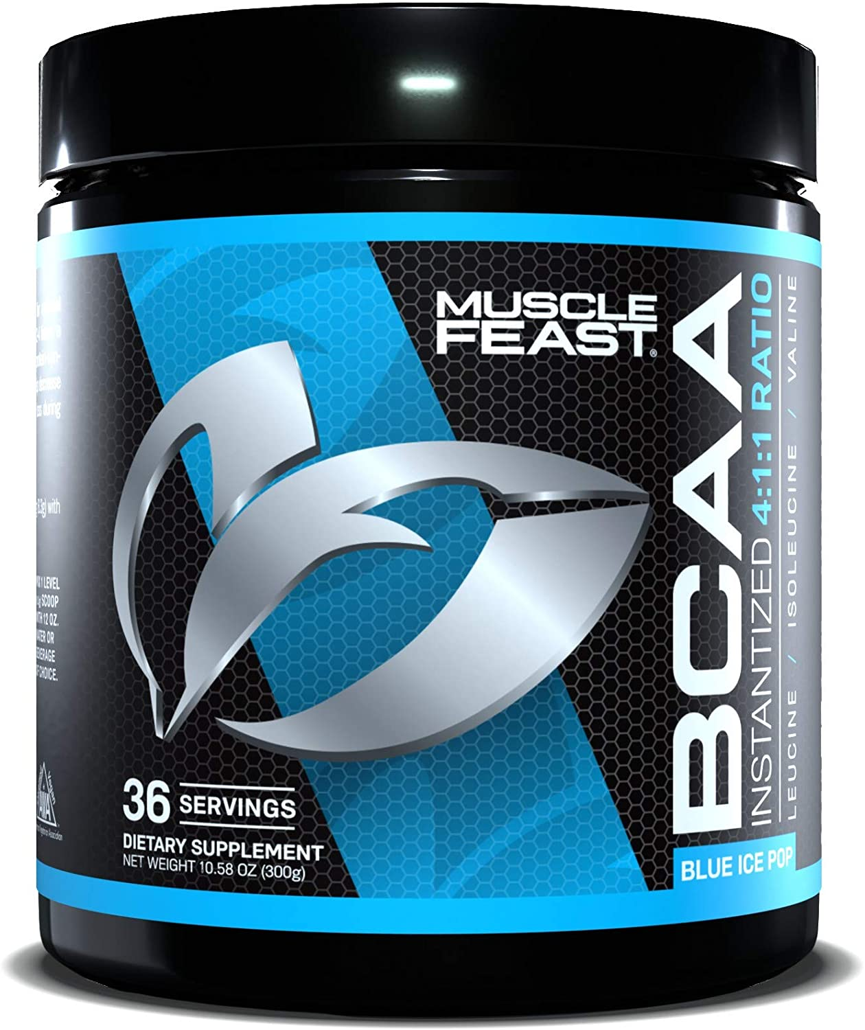 MUSCLE FEAST BCAA Powder 4:1:1 Ratio, Keto Friendly, Sugar Free, Post Workout Recovery, 36 Servings (300 Gram, Blue Ice Pop)