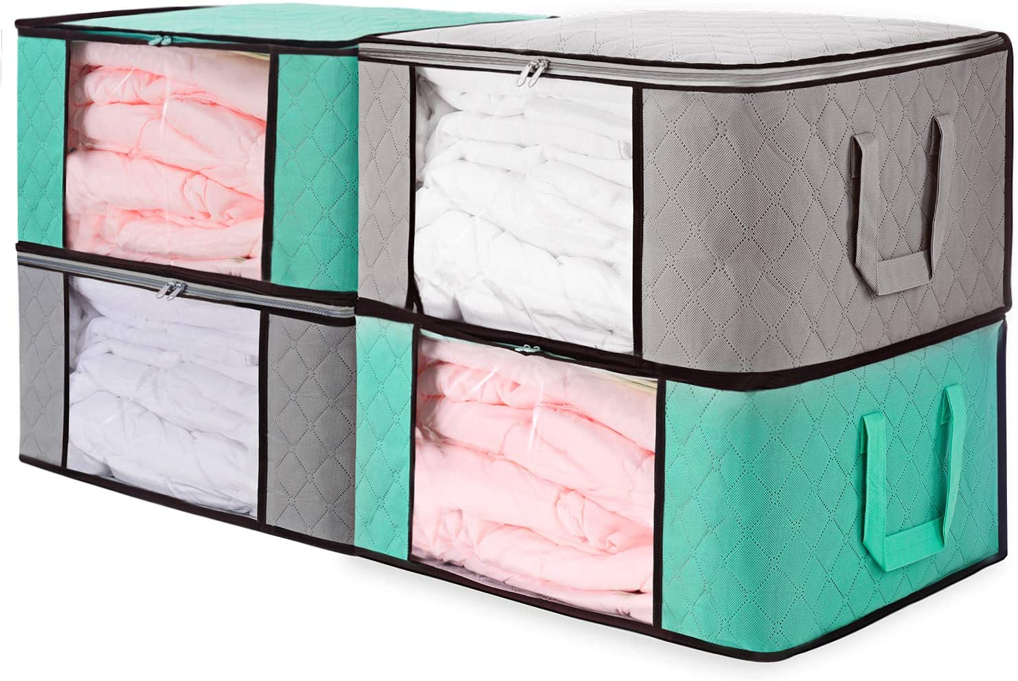 Senbowe Large Foldable Storage Bags, [4 Pack] Collapsible/Foldable Storage Bag Organizers, Large Clear Window, Handles, Zippers,for Clothes, Blankets, Closets, Kitchen,Bedrooms - (21.7 x 15.7 x 9.8�)