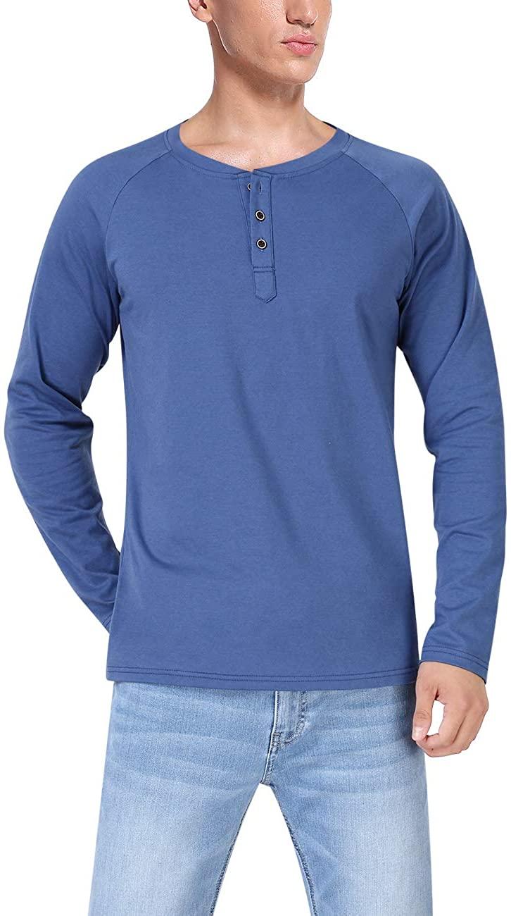 Yong Horse Mens Casual Long Sleeve Jersey Henley T Shirt Baseball Shirts Cotton Tshirts Slim Fit