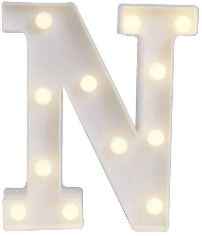 YANROO Led Light Up Alphabet Number Letters Marquee Letter Lights White Plastic Light Sign for Wedding Home Party Bar Decoration (N)