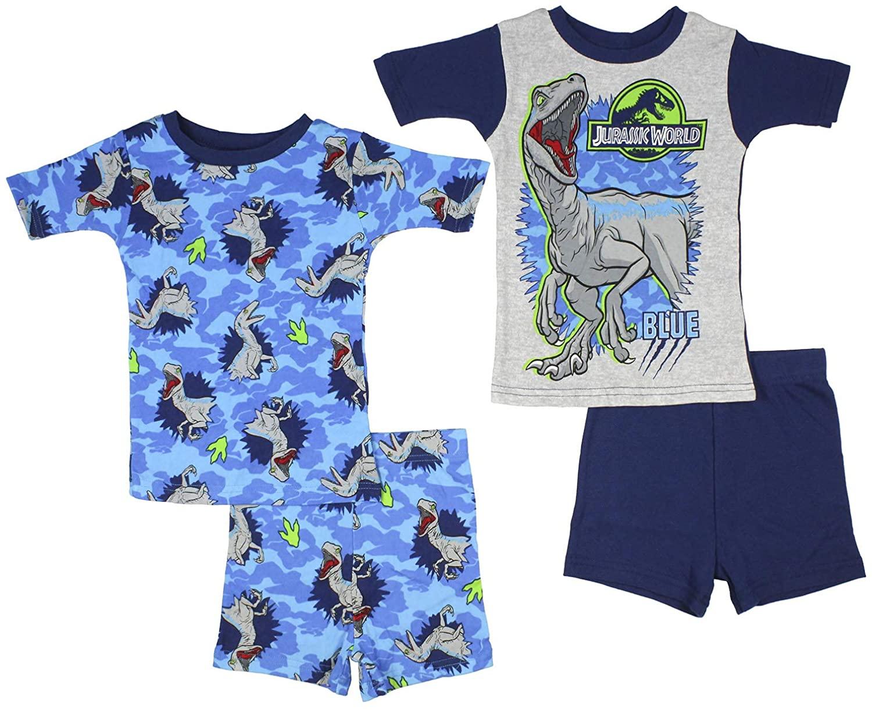 Jurassic World Boys' Blue The Velociraptor Shirt and Shorts Mix n' Match 4-Piece Pajama Set