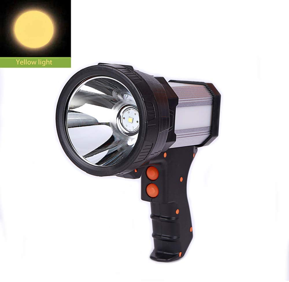 Superbright Tactical Handheld Spotlight Gun Flashlight Rechargeable 18650 Battery Included 3 mode with Side Light USB Power Charger (Yellow Light)